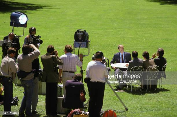 Prime minister Jacques Chirac on television set in the garden of the Hotel Matignon on June 9 1986 in Paris France