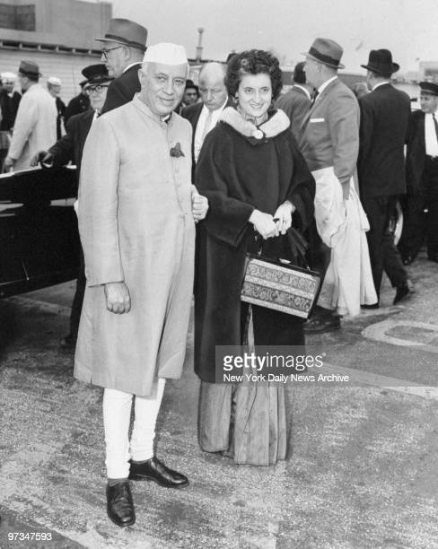Prime Minister Jawaharlal Nehru of India and his daughter Mrs Indira Gandhi leave LaGuardia Airport for a meeting with President Kennedy