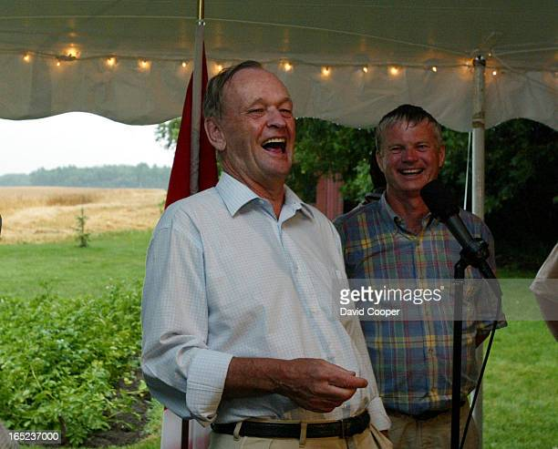 Prime Minister Jean Chretien aughs about taking credit for bring rain to the famers while attended a reception being held Monday night by Rural...