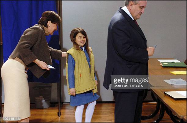 Prime Minister Jean-Pierre Raffarin Votes For The 2Nd Round Of The Regional Elections. On March 28, 2004 In Chasseneuil, France. With Wife Anne-Marie