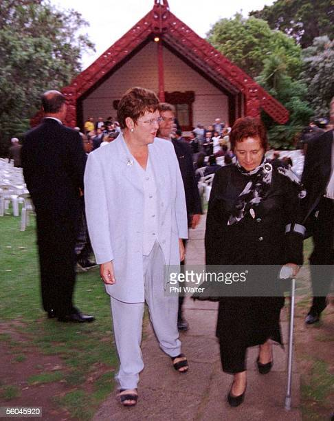 Prime Minister Jenny Shipley with Maori rights protestor Titiwhai Harawira as they leave the Whare Runanga after a prayer service on the Treaty...