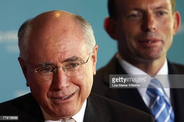 Prime Minister John Howard and Tony Abbott attend a Liberal Party press conference November 15 2007 in Cairns Australia John Howard announced as a...