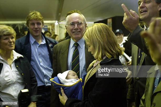 Prime Minister John Howard mingles with the locals in Gunnedah northern New South Wales Taken 18 August 2004 THE AGE NEWS Picture by ANDREW TAYLOR