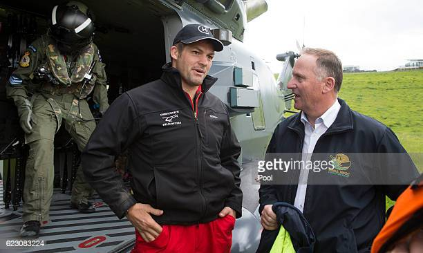 Prime Minister John Key and former All Black captain Richie McCaw are seen during a visit to Kaikoura on November 14 2016 in New Zealand The 75...