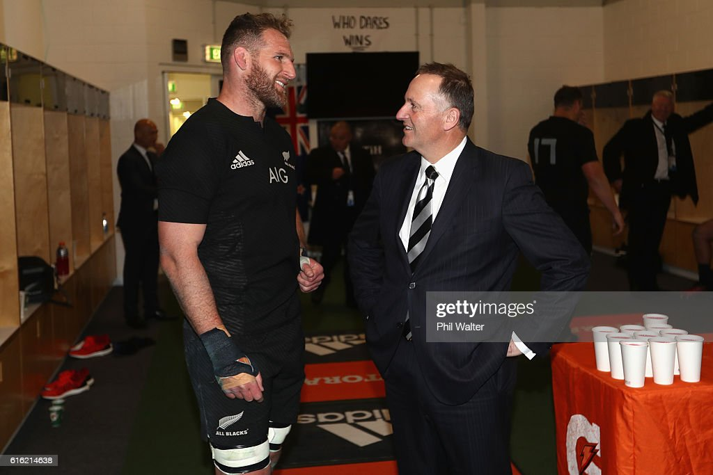 Prime Minister John Key congratulates All Black captain Kieran Read inside the dressing room during the Bledisloe Cup Rugby Championship match between the New Zealand All Blacks and the Australia Wallabies at Eden Park on October 22, 2016 in Auckland, New Zealand.