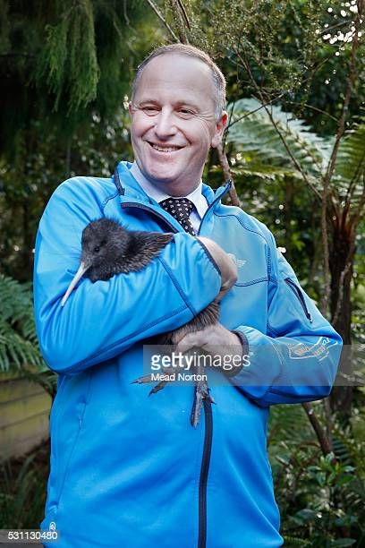 Prime Minister John Key holds 'Mighty Dash' Rainbow Springs 1500th Kiwi chick during his visit to Ngai Tahu Tourism's Rainbow Springs on May 13 2016...