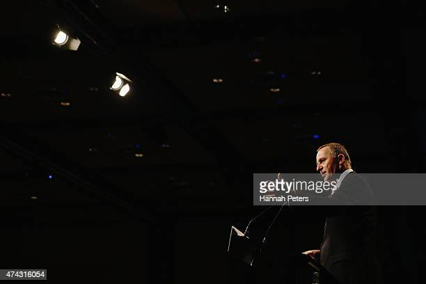 Prime Minister John Key speaks at the Annual TransTasman Business Circle PostBudget address at Sky City Hotel on May 22 2015 in Auckland New Zealand