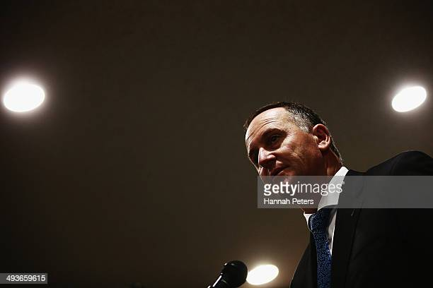 Prime Minister John Key speaks at the National Party regional conference on May 25 2014 in Hamilton New Zealand