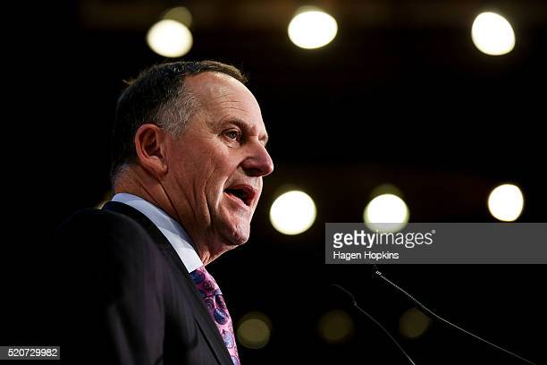 Prime Minister John Key speaks during the Business New Zealand prebudget lunch at Michael Fowler Centre on April 13 2016 in Wellington New Zealand...