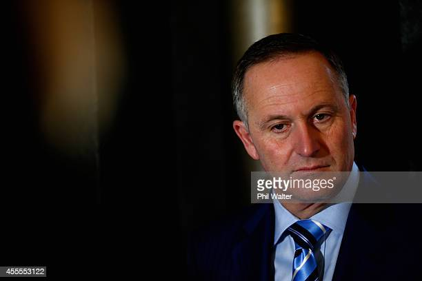 Prime Minister John Key speaks duriung a welfare policy announcement alongside Paula Bennett at Twenty Three Cafe on September 17 2014 in Auckland...