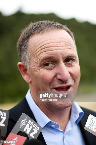 Prime Minister John Key speaks to media during the twoday National Party Bus Trip on September 18 2014 in Palmerston North New Zealand The New...