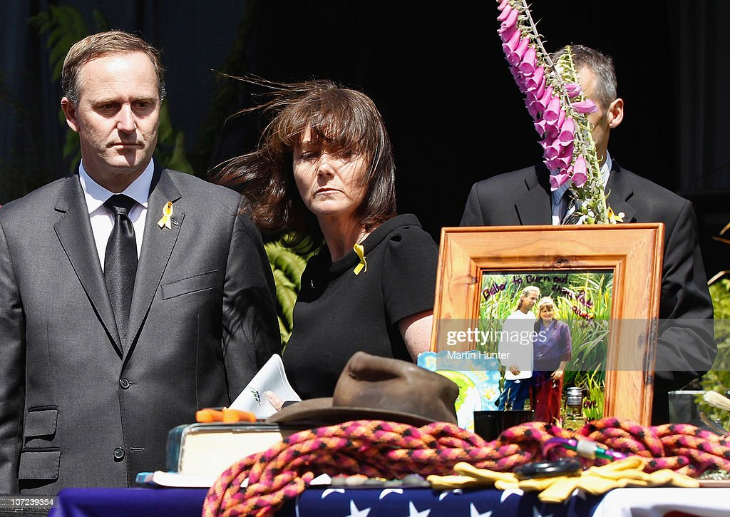 Prime Minister John Key (L) with his wife Bronagh (C) pay their respect at a national memorial service for the 29 miners that lost their lives in the Pike River Mine at Omoto Racecourse on December 2, 2010 in Greymouth, New Zealand. Two Australians, two Britons, and a South African were amongst the 29 New Zealand mine crew that lost their lives following two blasts at the Pike River Mine 50 kilometers north of Greymouth on New Zealand's west coast.