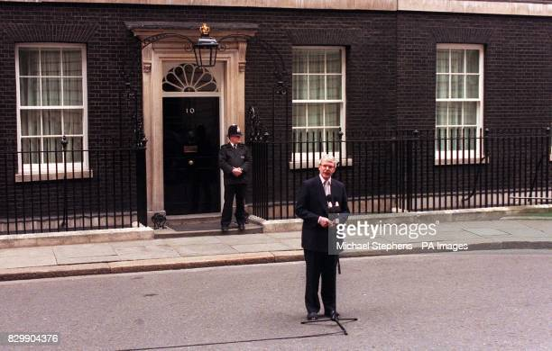 Prime Minister John Major speaking outside 10 Downing Street his official residence this afternoon where he named May 1 as the date for the General...