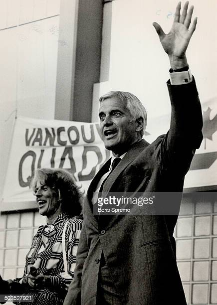 Prime Minister John Turner and his wife acnowledge to large crowd after being given the VancouverQuadra Liberal Nomination