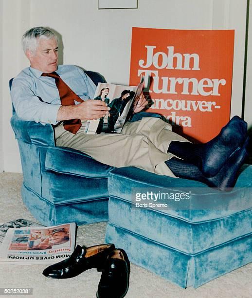 Prime Minister John Turner relaxes in hotel room