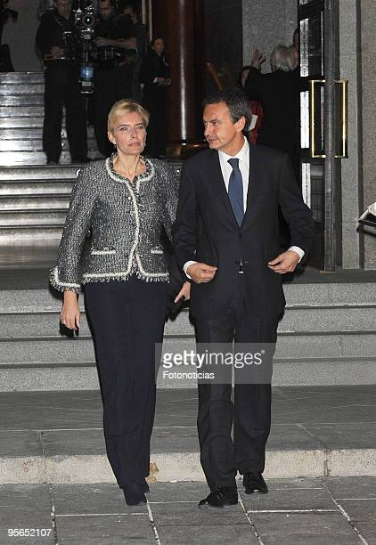 Prime Minister Jose Luis Rodriguez Zapatero and his wife Sonsoles Espinosa arrive to the Inaugural Gala of the Spanish Presidency of the European...