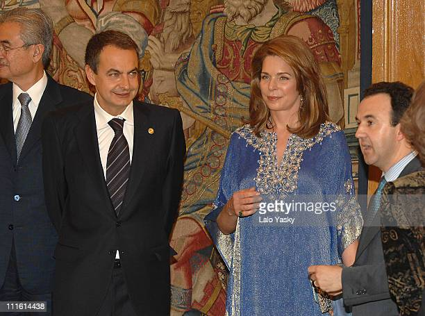 Prime Minister Jose Luis Rodriguez Zapatero and Queen Noor of Jordan attend the First Alliance of Civilization Forum participants reception at...