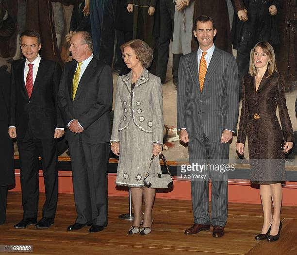 Prime Minister Jose Luis Rodriguez Zapatero HM King Juan Carlos HM Queen Sofia and TRH Prince Felipe and Princess Letizia pose for photographers...
