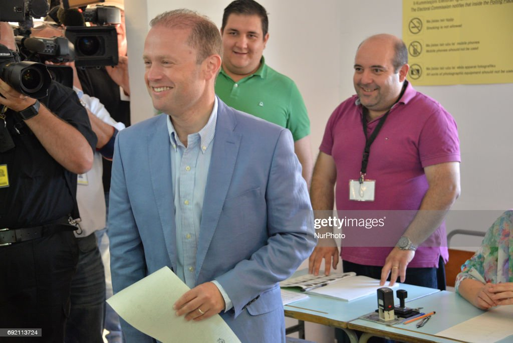 Prime Minister Joseph Muscat Votes in Malta Election 2017 : News Photo