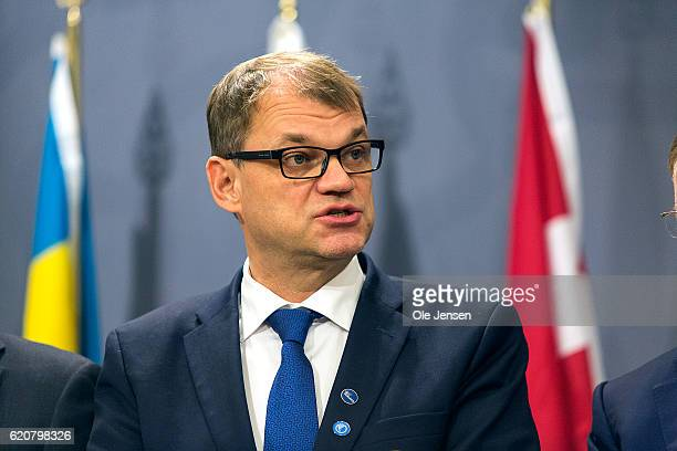Prime Minister Juha Sipilä of Finland speaks at the joint Nordic and Baltic states Prime Minister's press conference during The Nordic Council's 68...