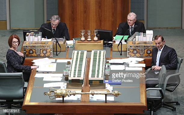 Prime Minister Julia Gillard and Opposition leader Tony Abbott during House of Representatives question time at Parliament House on February 5, 2013...