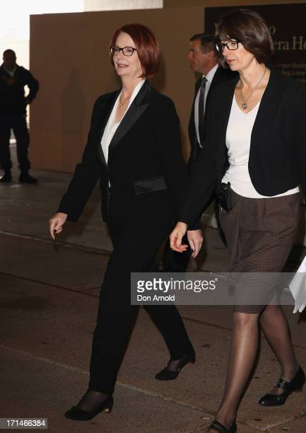 Prime Minister Julia Gillard arrives at a state memorial service for the late Hazel Hawke exwife of former Australian Prime Minister Bob Hawke at the...