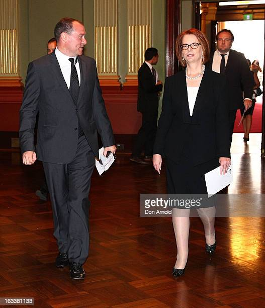 Prime Minister Julia Gillard arrives for the public memorial for Peter Harvey at Sydney Town Hall on March 9 2013 in Sydney Australia Television...