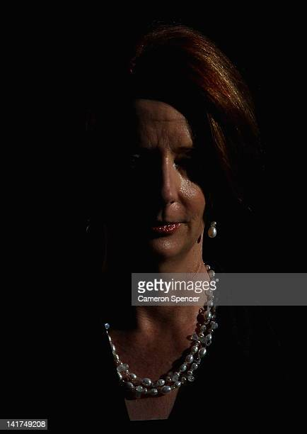 Prime Minister Julia Gillard attends the memorial service for Margaret Whitlam at St James Anglican Church on March 23 2012 in Sydney Australia Mrs...