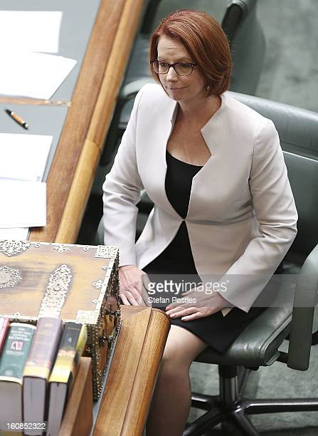 Prime Minister Julia Gillard during House of Representatives question time at Parliament House on February 7 2013 in Canberra Australia Parliament...