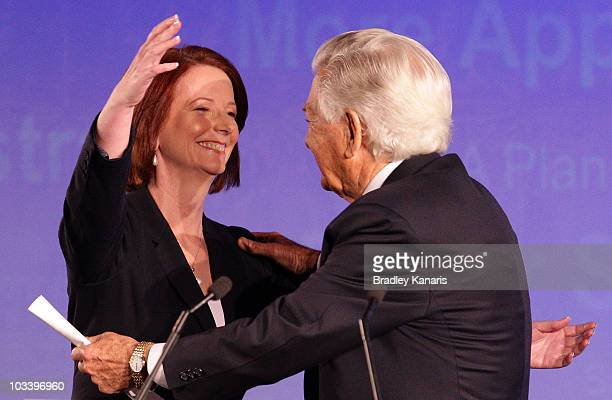 Prime Minister Julia Gillard embraces former Prime Minister Bob Hawke during the Labor Party campaign launch on August 16 2010 in Brisbane Australia...