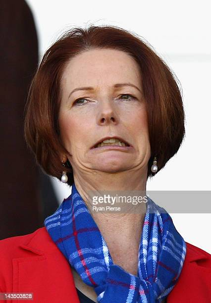 Prime Minister Julia Gillard looks on before the round five AFL match between the Greater Western Sydney Giants and the Western Bulldogs at Manuka...
