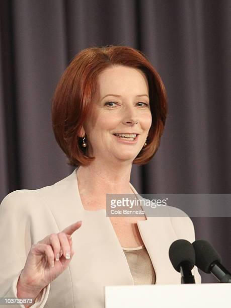 Prime Minister Julia Gillard speaks during a press conference at the National Press Club on August 31 2010 in Canberra Australia Gillard called the...