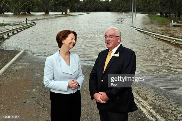 Prime Minister Julia Gillard speaks with City of Wagga Wagga Mayor Kerry Pascoe on Wiradjuri Bridge on March 7, 2012 in Wagga Wagga, Australia. 9000...