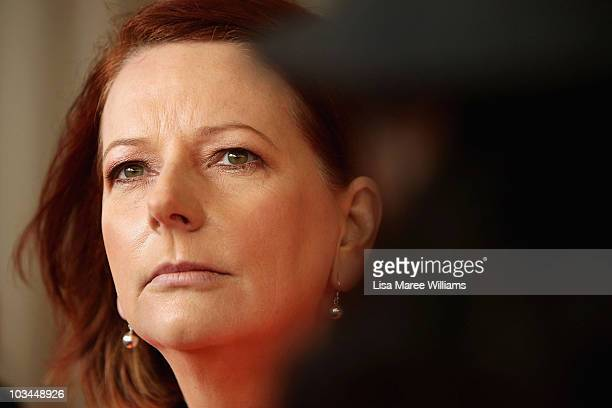 Prime Minister Julia Gillard speaks with the media at Googong Damn in the Queanbeyan district during the final week of campaigning ahead of this...