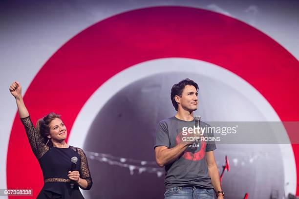 Prime Minister Justin Trudeau and his wife Sophie Gregoire Trudeau look on during the Global Citizen Concert to End AIDS Tuberculosis and Malaria in...