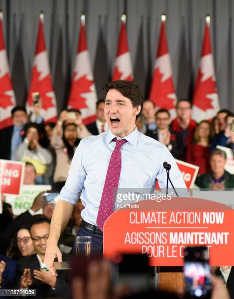 Prime Minister Justin Trudeau and leader of the Liberal Party of Canada in a joyous mood while delivering remarks to supporters at a Liberal Climate...