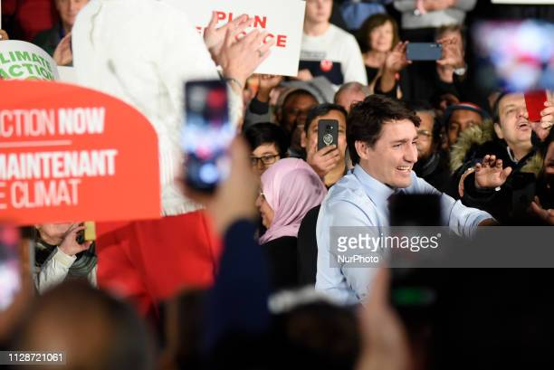 Prime Minister Justin Trudeau and leader of the Liberal Party of Canada meeting his supporters at a Liberal Climate Action Rally in Toronto ON on...