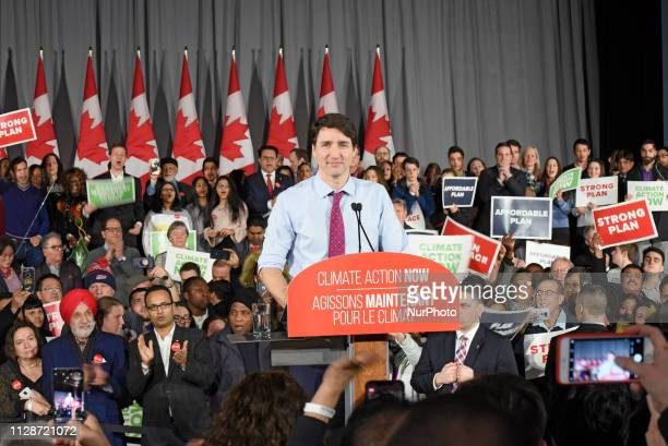 Prime Minister Justin Trudeau and leader of the Liberal Party of Canada delivering remarks to supporters at a Liberal Climate Action Rally in Toronto...