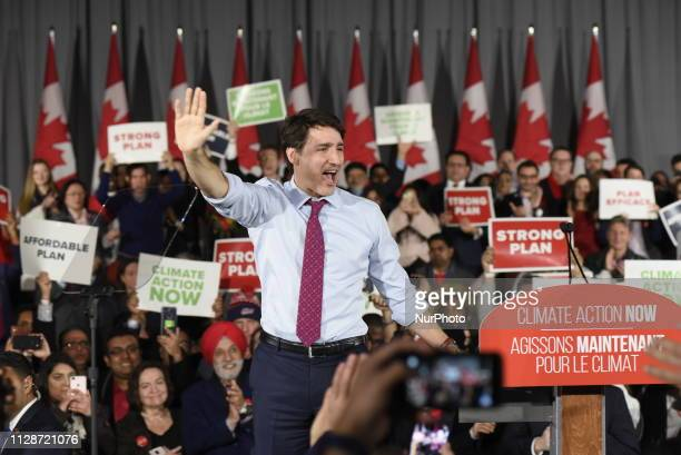 Prime Minister Justin Trudeau and leader of the Liberal Party of Canada waiving towards his to supporters at a Liberal Climate Action Rally in...