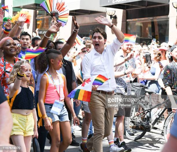 Prime Minister Justin Trudeau began marching with participants on Yonge St. At the 39th Annual Toronto Pride Parade on Sunday June 23, 2019 in...