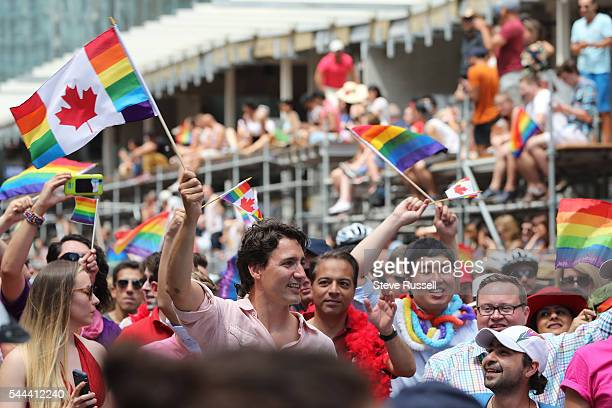 TORONTO ON JULY 3 Prime Minister Justin Trudeau during the the 2016 Toronto Pride parade along Yonge Street in Toronto July 3 2016
