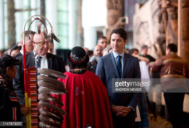 Prime Minister Justin Trudeau greets attendees at the closing ceremony marking the conclusion of the National Inquiry into Missing and Murdered...
