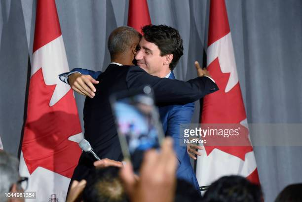 Prime Minister Justin Trudeau speaking during an armchair conversation between Prime Minister Justin Trudeau and Ahmed Hussen the Minister of...
