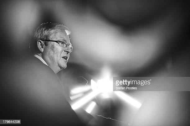 Prime Minister Kevin Rudd addresses union workers at the West Tradies Club on September 6, 2013 in Sydney, Australia. Australian voters will head to...