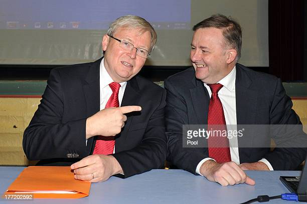 Prime Minister Kevin Rudd and Deputy Prime Minister Anthony Albanese take their seats for a Labor caucus meeting on August 22 2013 in Sydney...