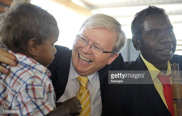 Prime Minister Kevin Rudd attends the state memorial service for 'Yothu Yindi' founder Mr Yunupingu on June 30, 2013 in Gulkula, Nhulunbuy in the...