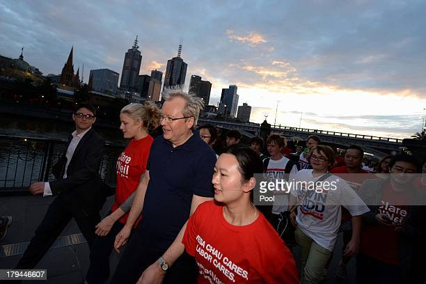 Prime Minister Kevin Rudd is seen during a morning walk with young volunteers and supporters on September 4, 2013 in Melbourne, Australia. With just...
