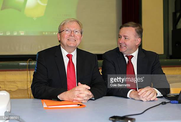 Prime Minister Kevin Rudd jokes with Deputy Prime Minister Anothony Albanese at the meeting of caucus at Balmain Town Hall on July 22 2013 in Sydney...