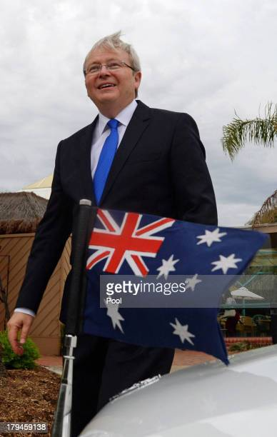 Prime Minister Kevin Rudd leaves after speaking to aged care workers at St Laurence's Hostel on September 4, 2013 in Adelaide, Australia. With just...