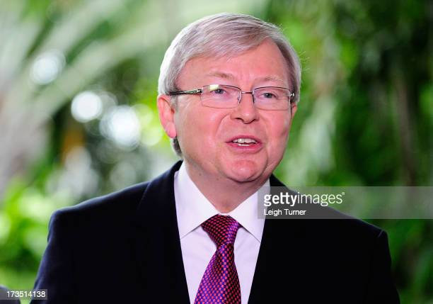 Prime Minister Kevin Rudd speaks at media conference that outlines federal budget cuts on July 16 2013 in Townsville Australia The government today...